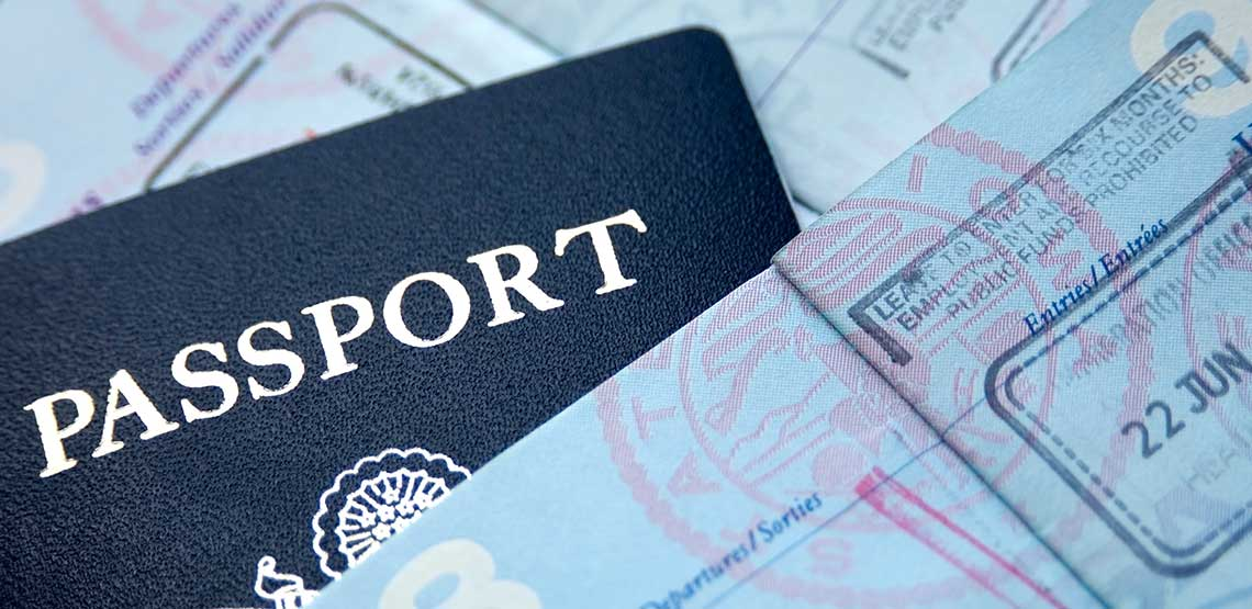 A passport and passport stamps