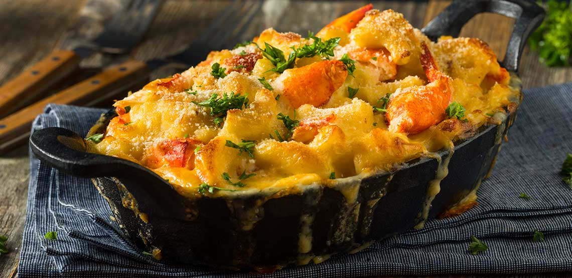 A dish of lobster mac and cheese