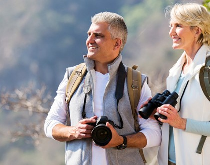 Couple Hiking Taking Pictures