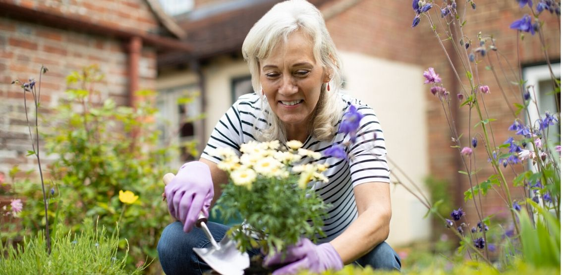 a senior woman planting some flowers and starting a garden